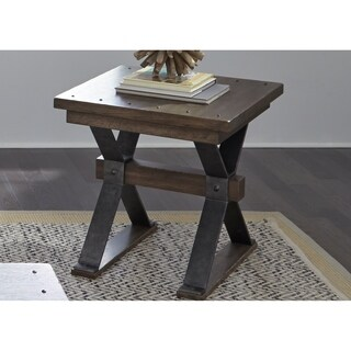 Sonoma Road Weathered Beaten Bark and Metal End Table