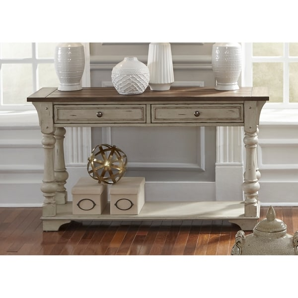 Shop Morgan Creek Antique White And Tobacco Sofa Table On Sale