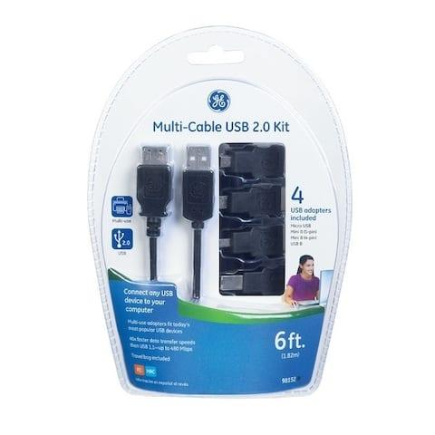 GE 6 ft. L Black USB 4 in 1 Cable Kit