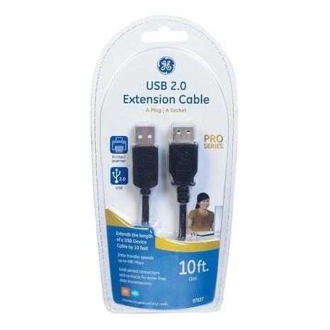 GE 10 ft. L Black USB Cable