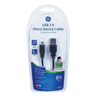 GE 6 ft. L Black USB 2.0 Micro Device Cable