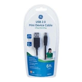GE 6 ft. L Black USB 2.0 Mini Device Cable