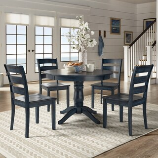 Wilmington II Round Pedestal Base Antique Dark Denim 5-Piece Dining Set by iNSPIRE Q Classic
