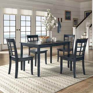 Wilmington II 48-Inch Rectangular Antique Dark Denim 5-Piece Dining Set by iNSPIRE Q Classic