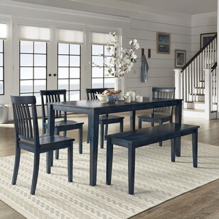 Wilmington II 60-Inch Rectangular Antique Dark Denim Dining Set by iNSPIRE Q Classic (More options available)