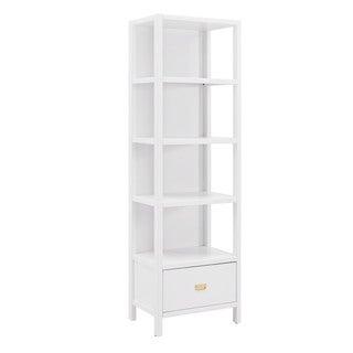 Linon Poppy White Wood 4-shelf Bookcase