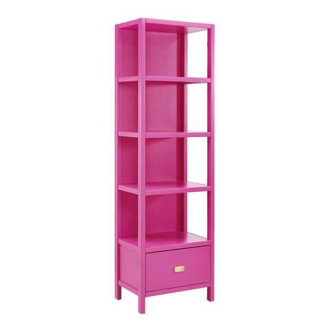 Linon Poppy Raspberry Wood Bookcase