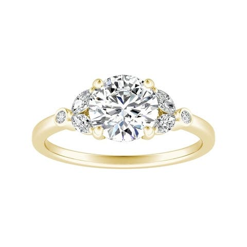 Auriya 14k Gold 1/2ctw Vintage Floral Round Diamond Engagement Ring