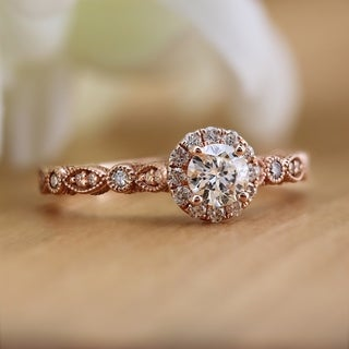 Auriya 14k Gold 3/4ctw Vintage Round Halo Diamond Engagement Ring