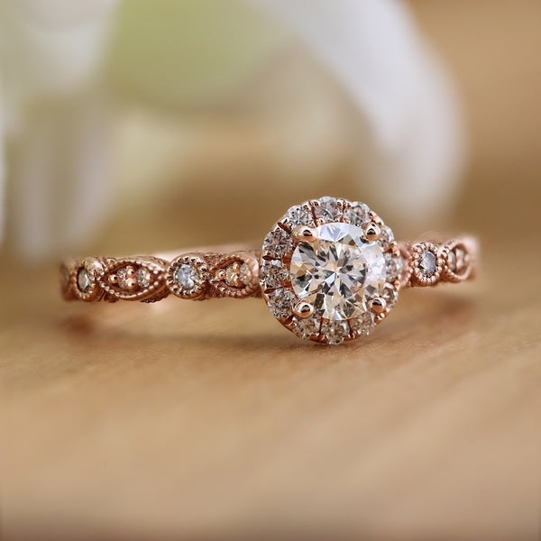 Auriya 14k Gold 3/4ctw Vintage Round Halo Diamond Engagement Ring