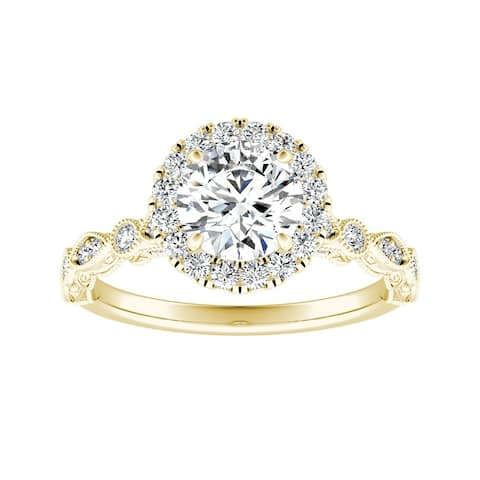Auriya 14k Gold 1ctw Vintage Round Halo Diamond Engagement Ring