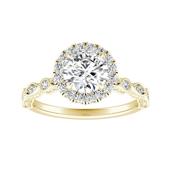 Auriya 14k Gold 1ctw Vintage Round Halo Diamond Engagement Ring. Opens flyout.