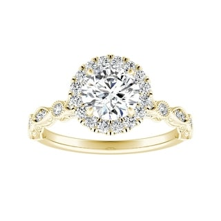 Auriya 14k Gold 1ct TDW Vintage Filigree Carved Diamond Halo Engagement Ring
