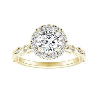 Auriya 14k Gold 1ct TDW Vintage Filigree Carved Diamond Halo Engagement Ring