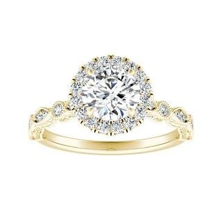 Auriya 1ctw Vintage Filigree Carved Diamond Halo Engagement Ring 14k Gold
