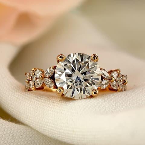 Auriya 1 carat TW Vintage Floral Diamond Engagement Ring 14k Gold