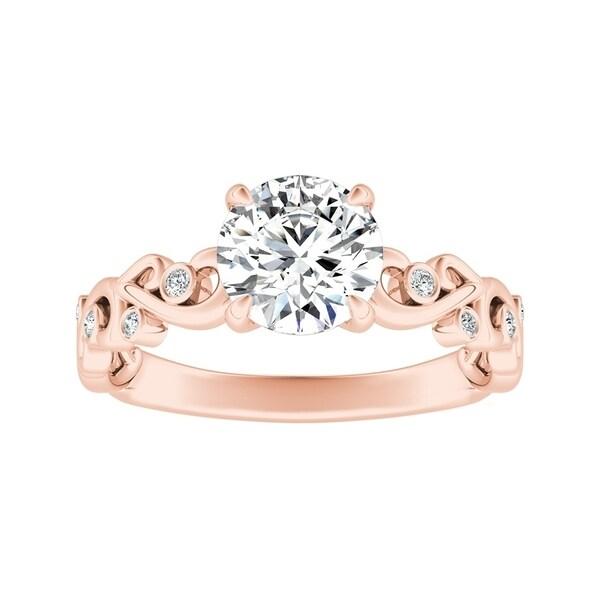 Auriya 1/2ctw Vintage Filigree Scroll Round Diamond Engagement Ring 14k Gold