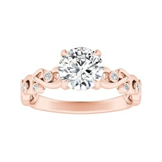 Auriya 1/2ctw Vintage Filigree Scroll Round Diamond Engagement Ring 14k Gold