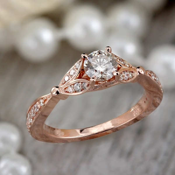 Auriya 14k Gold 3/4ctw Floral Nature Inspired Diamond Engagement Ring. Opens flyout.
