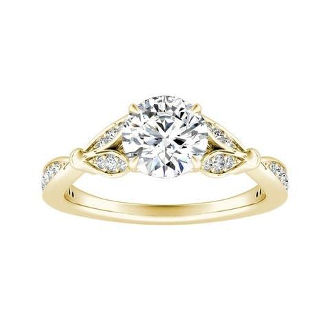 Auriya 14k Gold 3/4ctw Floral Nature Inspired Diamond Engagement Ring