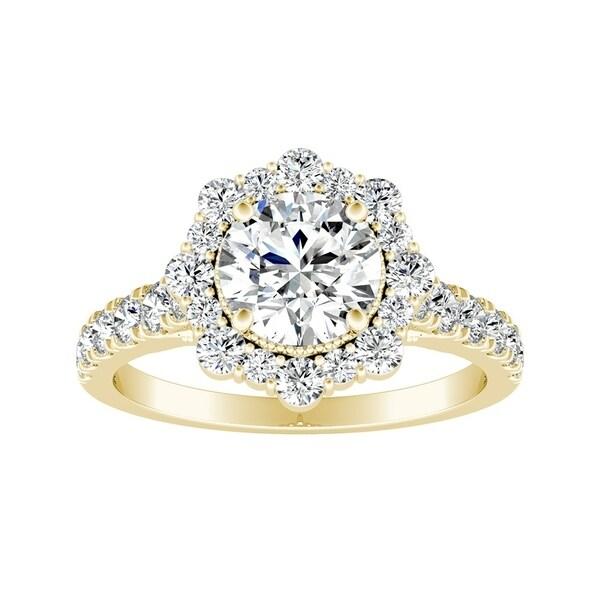 Auriya 14k Gold 1 1/4ct TDW Halo Vintage Diamond Engagement Ring