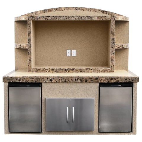 Paradise Stucco & Tile Outdoor Entertainment Center with Refrigerators