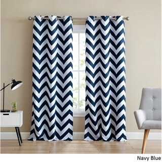 HLC.ME Chevron Print Thermal Blackout Grommet Curtain Panel Pair (More options available)