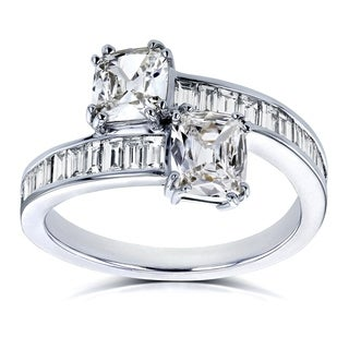 Annello by Kobelli Two Collection Certified 18k White Gold 1 3/4ct TDW Cushion Diamond 2 Stone Ring
