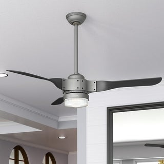 Hunter Apache Matte Silver with 3 Black Ash Blades 54-inch Ceiling Fan