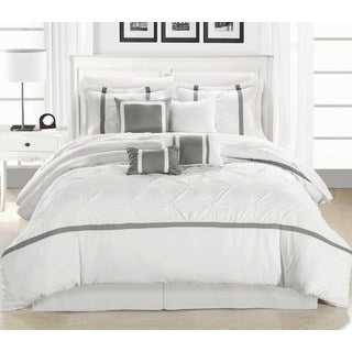Chic Home Wright White and Silver Pinch Pleated Embroidered 12 Piece Comforter Set Bed in a Bag
