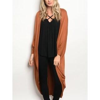 JED Women's 3/4 Sleeve Soft & Drapey Longline Cocoon Cardigan