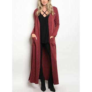 JED Women's Long Sleeve Maxi Knit Cardigan with Pockets