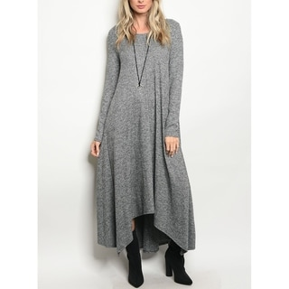 JED Women's Knitted Sweater Fabric Long Sleeve Asymmetrical Maxi Dress