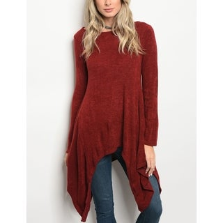 JED Women's Burgundy Long Sleeve Trapeze Tunic Knit Top