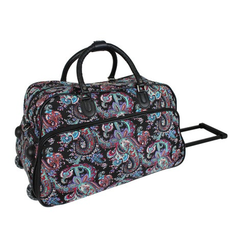 World Traveler Paisley 21-Inch Carry-On Rolling Duffel Bag