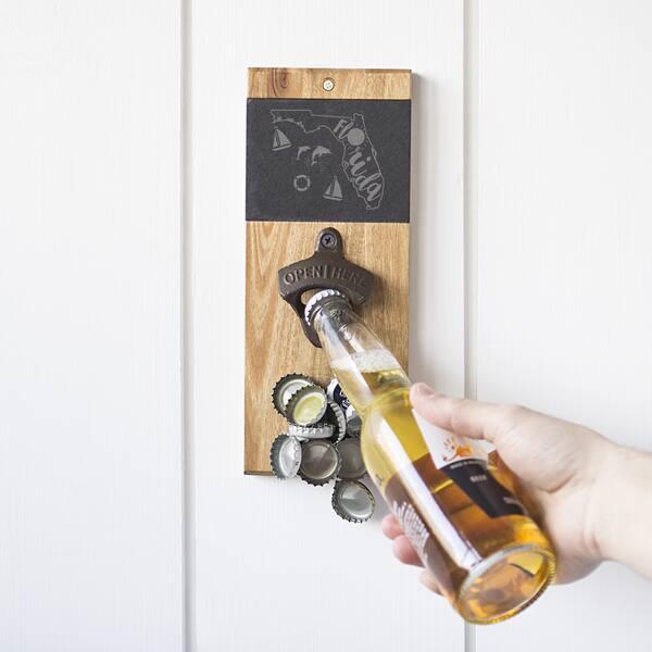 Slate Acacia Wall Mount Bottle Opener