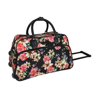 World Traveler Flower Bloom 21-Inch Carry-On Rolling Duffel Bag