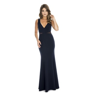 Decode 1.8 Women's Long V-Neck Evening Gown with Illusion Waistline