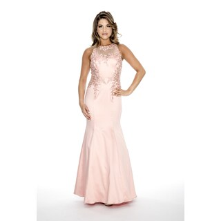 Decode 1.8 Women's Long Formal Evening Gown with Racer Back-Apricot