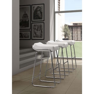 Wedge Contemporary Chrome and Faux Leather Backless Barstool (As Is Item)