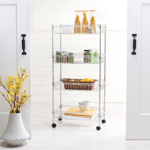 "happimess Grove 4-Shelf 47"" Basket Rack with Casters, Chrome"