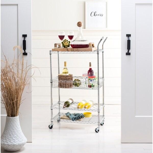 happimess Chelsea 3-Shelf Adjustable Kitchen Cart with Wine Storage, Chrome
