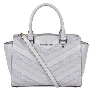 Michael Kors Medium Selma Top Zip Dove Leather Satchel Handbag