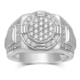 Unending Love 10k White Gold 1-1/8ct TDW Rolex Gents Ring