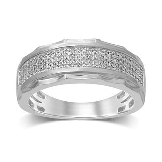 Unending Love 10k White Gold 1/3CT TDW Men's Fashion Ring