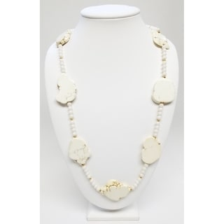 Kenneth Jay Lane Flat Bone Rock with Gold Bead Spacer Necklace - White