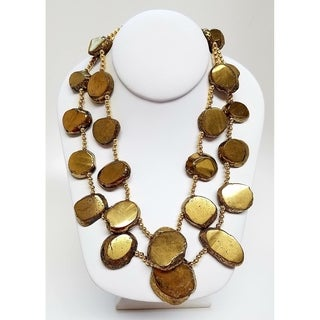 Kenneth Jay Lane 2 Row Bronze Agate Disc Gold necklace