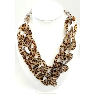 Kenneth Jay Lane 2 Row Leopard Print Resin Link Necklace
