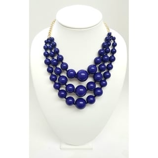 Kenneth Jay Lane Polished Gold Chain with 3 Row Lapis Resin Bead Necklace