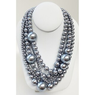 Kenneth Jay Lane Multi Strand with Large Grey Pearls Station Necklace